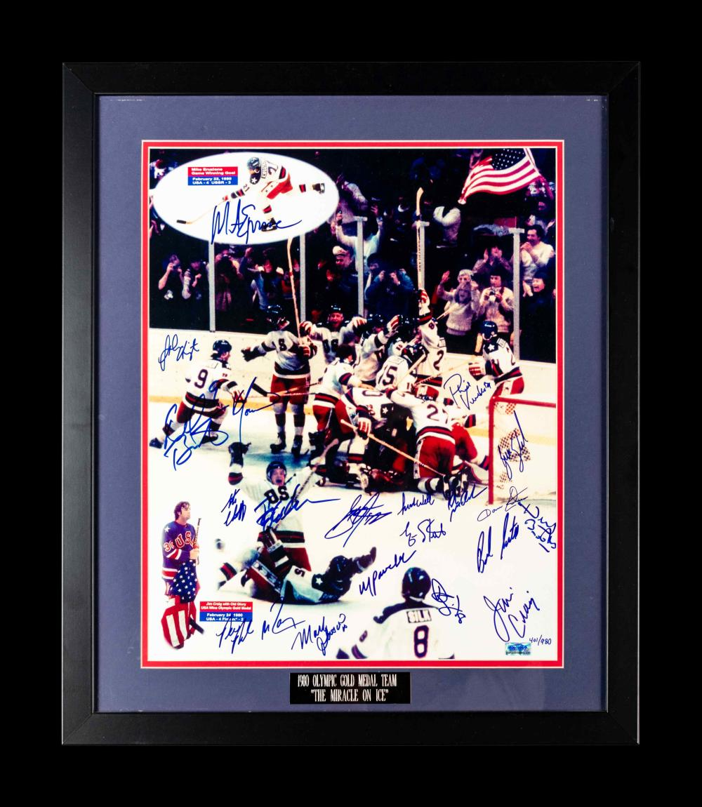 A Group of 1980 United States Olympic Hockey Team Signed Autographed Items Including Herb Brooks (BAS Beckett Authentication Services Certified),
