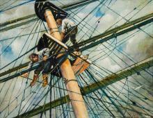 John Grabach (American, 1886-1981) Man Aloft in the Rigging