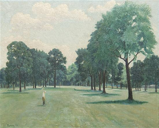 *Ruthven Byrum, (American, 1896-1960), Golf Course Scene, 1932
