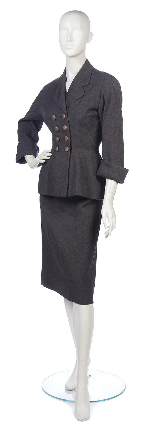 A Balenciaga Gray Wool Skirt Suit,