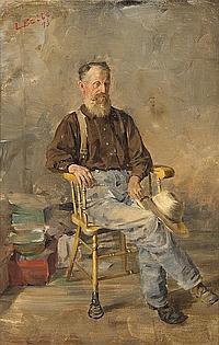 Louis Betts, (American, 1873-1961), Old Man in a Spring Rocker, 1893