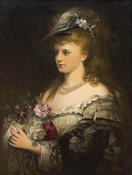 *Franz Veith, (German, 1799-1846), Portrait of a Lady with Flowers