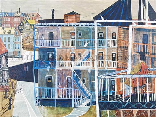 *Ellen Lanyon, (American, b. 1926), Blue Porches, 1952
