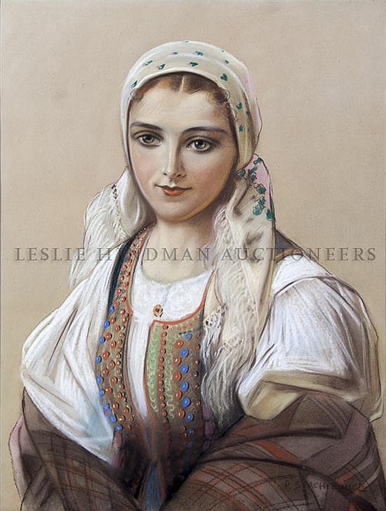 Piotr Stachiewicz, (Polish, 1858-1938), Portrait of a Lady