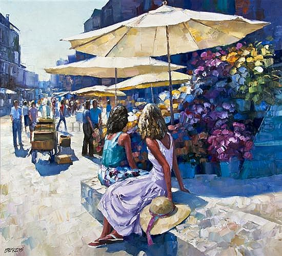 Howard Behrens, (American, b. 1933), Flower Market