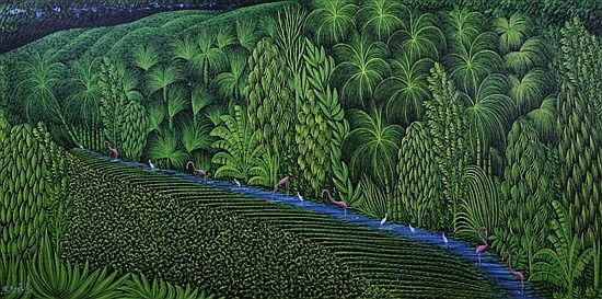 Henri Robert Bresil, (Haitian, 1952-1999), Tropical Landscape