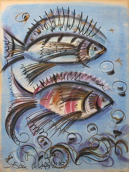 Sascha Brastoff, (American 1918-1993), Two Fish