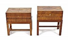Two Marquetry Inlaid Walnut Lap Desks, Height 19 1/2 x width 19 x depth 11 inches.