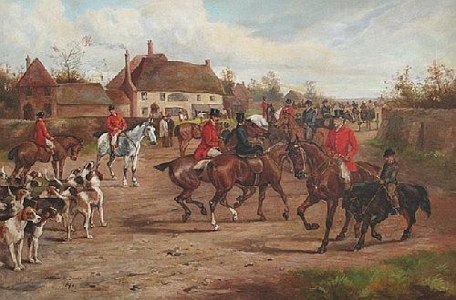 Arthur Alfred Davis, (British, b. 1824), Fox Hunt, The Meeting