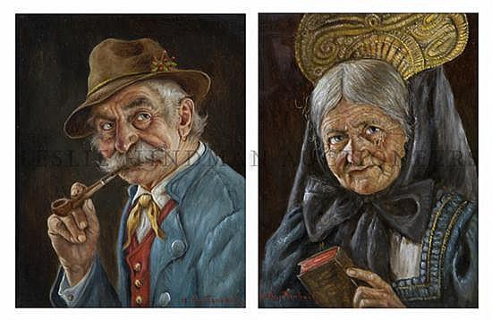 Hans Barttenbach, (German, b. 1908), A pair of portraits