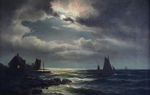 Carl Ludwig Bille, (Danish, 1815-1898), Boats in Moonlight