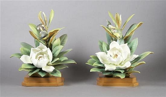 *A Pair of Royal Worcester Dorothy Doughty Birds, Magnolia Warblers, Height 14 inches.