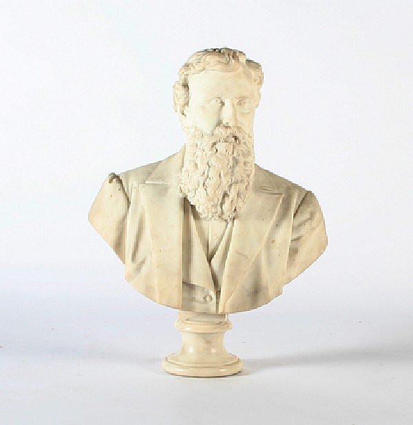 A White Marble Bust of a Bearded Gentleman, Luigi Gugliemli (Italian, 1834-1907), Height 31 1/2 inches.