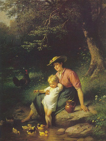 RUDOLF EPP (GERMAN, 1834-1910) MUTTER UND KIND MIT ENTCHEN