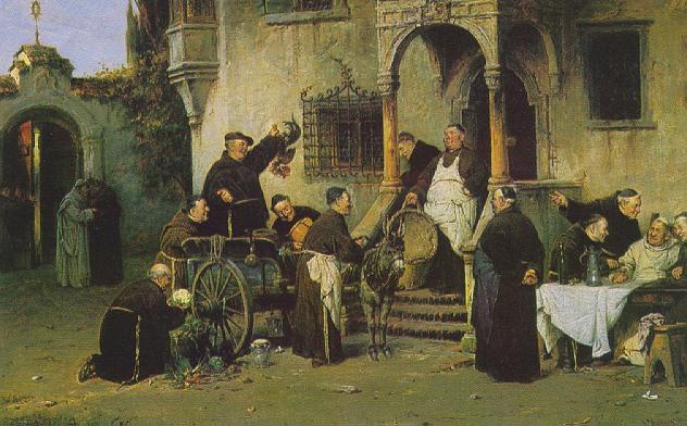 ADOLF HUMBORG (AUSTRIAN, B. 1847) FRIARS AT WORK