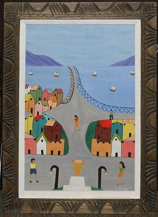 Gesner Abelard, (Haitian, b. 1922), Haitian Village (bridge to the town), 1974
