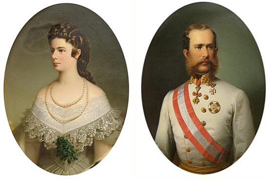 Attributed to Friedrich Krepp, (Austrian, d. 1862), Portraits of Emperor Franz Joeseph I of Austria and Empress Elizabeth