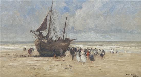 Joseph Charles Francois, (Belgian, 1851-1940), Coastal Scene