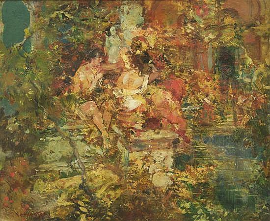 Fred Greene Carpenter, (American, 1882-1965), Figures in Landscape