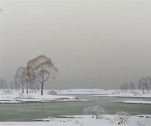 Pierre de Clausade, (French, 1910-1976), Winter at the Lake