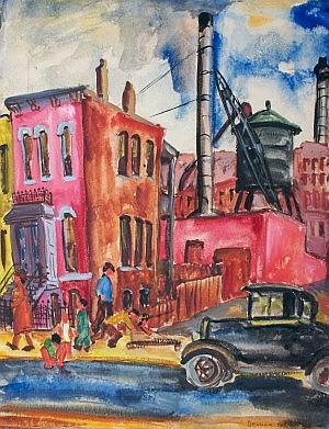 Eleanor Coen, (American, b. 1916), Red Buildings