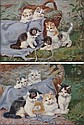 Benno Kogl, (German, 1892-1969), A Pair of Paintings Depicting Kittens Playing with Yarn, Benno Kögl, Click for value