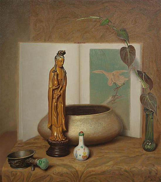 Claude Charles Buck, (American, 1890-1974), Still Life with Chinese Figurine
