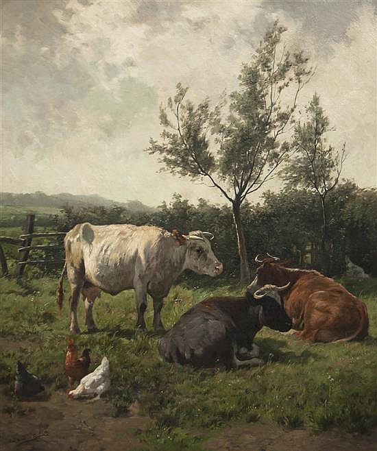 *Emile Van Damme-Sylva, (Belgian, 1853-1935), Chickens and Cows
