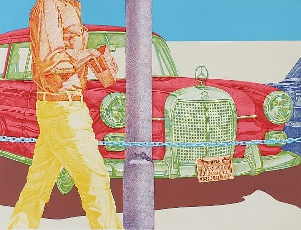 Don Eddy, (American, b. 1944), Red Mercedes, together with Green Trees Sloe Gin by Richard McLean, lithograph, edition 200/300 and sig