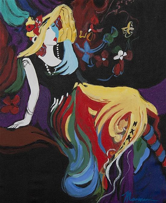 Isaac Maimon, (French/Israeli, 20th century), A group of four paintings depicting women