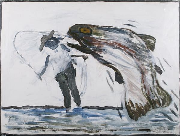 Gaylen Capener Hansen, (American, b. 1921), Fisherman
