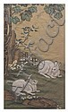 A Chinese Painting on Silk, after Leng Mei (active 1677-1742), Height of image 36 x width 20 1/2 inches., Leng Mei, Click for value