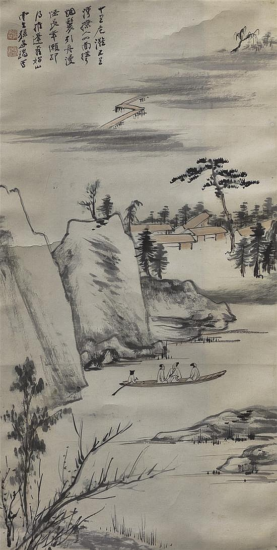A Taiwanese Scroll Painting on Paper, Sun Yunsheng (1918-2000), Height of image 26 1/2 x width 13 1/2 inches.