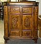 A Carved Hardwood Bar, Height 36 1/2 x width 31 3/8 x depth 16 inches.