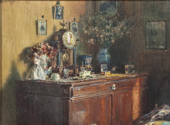 Rudolf Konopa, (Austrian, 1864-1938), Interior Scene, 1917