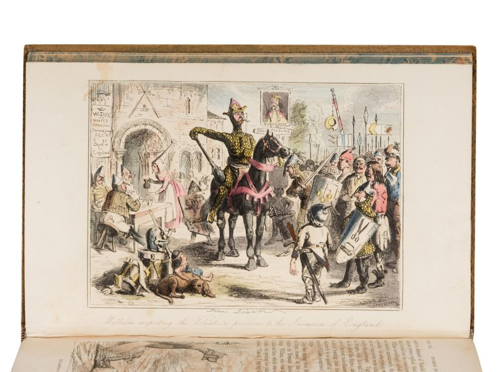 [FINE BINDINGS] -- A'BECKETT, Gilbert Abbott. John LEECH, illustrator. The Comic History of England. London: The Punch Office, 1847-1848. Vol. I-II. --The Comic History of Rome. London: Bradbury & Evans, [ca 1851]. Vol. III.