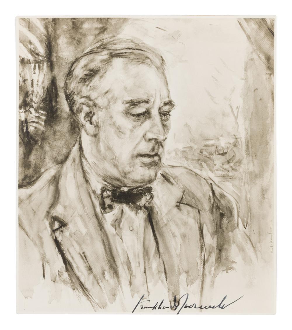 [KAUFMAN, Enit] -- [ROOSEVELT, Franklin Delano] [Portrait of Franklin Delano ROOSEVELT (1882-1945)]. SIGNED BY ROOSEVELT.