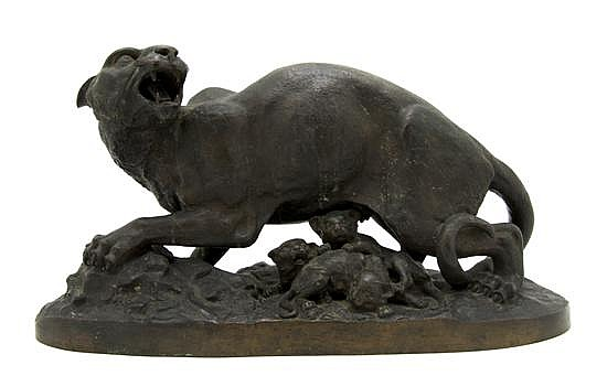 *An American Bronze Figural Group, After Henry Kirke Brown (1814-1886), Width 18 1/2 inches.