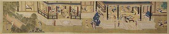 A Chinese Hand Scroll, After Qiu Ying, Length 55 1/2 x width 11 inches.