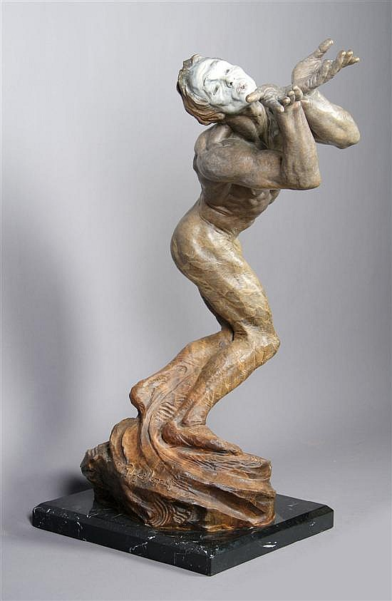 An American Bronze Figure, Richard MacDonald, Height 32 1/2 inches.