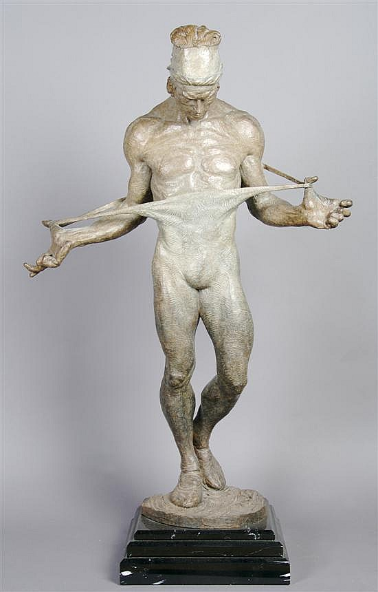 An American Bronze Figure, Richard MacDonald, Height 41 1/2 inches.