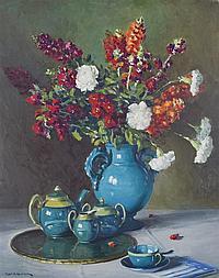 Robert Alexander Graham, (American, 1873-1946), Flowers in a Blue Vase