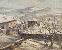 Gabriel Moiselet, (French, 1885-1961), Snow Scene in the Mountains