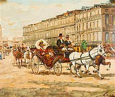 Bart (Leroy) Schouten, (Belgian, 20th century), Horse Drawn Carriage
