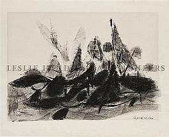 Robert Knipschild, (American, b. 1927), Black Rocks, Trees: Acadia, Maine, 1954