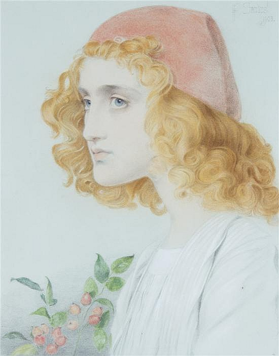 * Anthony Frederick Augustus Sandys, (British, 1829-1904), The Red Cap, 1903