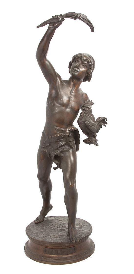 A French Bronze Figural Group Height 23 inches.