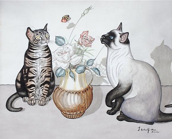 Foussa Itaya, (Japanese/French, b. 1919), Still Life with Moving Cats
