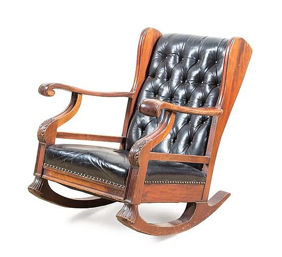 Astonishing A Victorian Leather Upholstered Rocking Chair Height 34 Inch Andrewgaddart Wooden Chair Designs For Living Room Andrewgaddartcom
