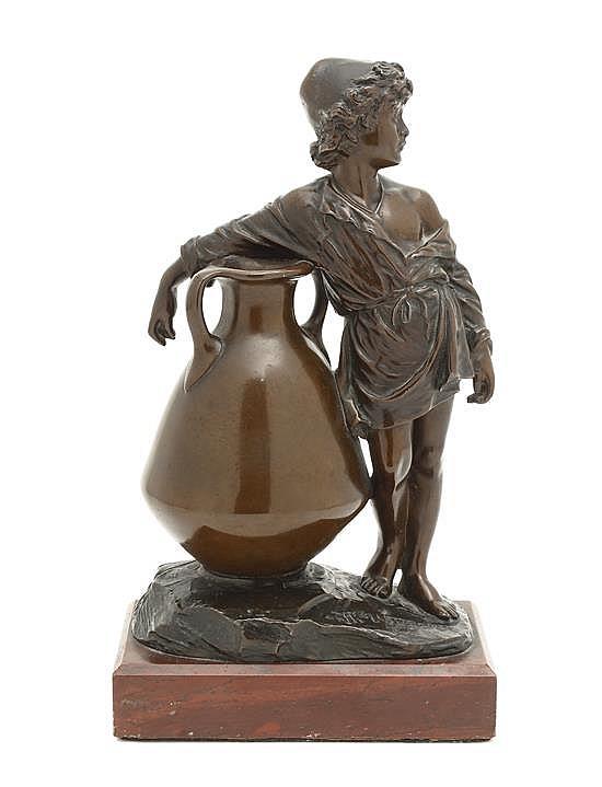 A German Figural Bronze, W. Uhlmann, Height 8 1/2 x width 3 1/4 x length 3 7/8 inches.